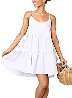 LOMON Spaghetti Strap Dress for Women Pleated Swing Dress Backless Casual Mini Dress