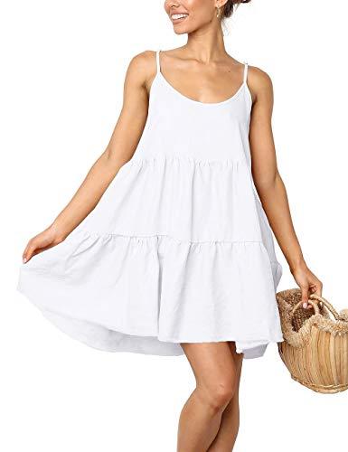 LOMON Spaghetti Strap Dress Mini Short Flowy Skater Dresses Maxi Dress(White,Large)