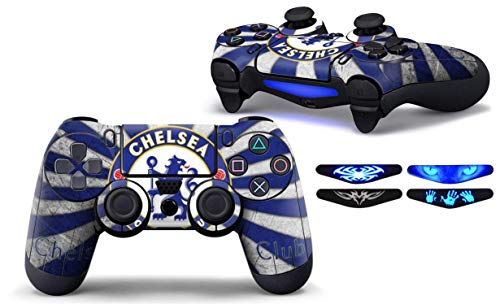 Graphixdesign PS4 Controller Designer 3M Skin for Sony Playstation 4 DualShock Wireless Controller - Skin for One Controller Decal Cover+ 4 Led bar Decal Sticker (Chelsea-Football-Logo,)