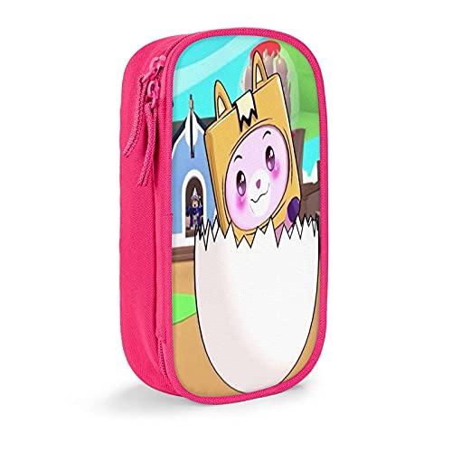 LankyBox FOxy & BOxy Estuche para lápices de gran capacidad, duradero estuche para lápices, papelería, estuche para lápices con cremallera para niñas y niños