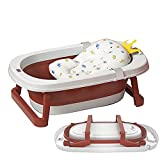 Sinbide Bañera Plegable para Bebé Recién Nacido con Soporte del Asiento Bañera de Niños con Temperatura Inteligente Cojín Cómodo Portátil Lavabo para Bebes Alfombrilla Antideslizante (Rojo)
