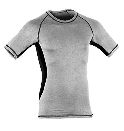 Engel Sports Heren SHIRT (korte mouw) // SLIM FIT bio wol zijde functioneel ondergoed (L, zilver stone/zwart)