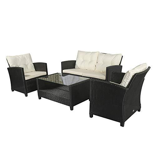 Outsunny Polyrattan Sitzgarnitur 4 TLG. Sitzgruppe Gartenset Sofagarnitur Gartenmöbel Set Lounge Metall Luxus Schwarz