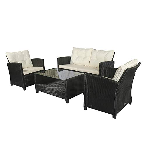 Outsunny 4 PCS Outdoor Patio Furniture Sets All Weather PE Rattan Chair set Indoor Outdoor Backyard Garden Coffee Table with Cushions Black