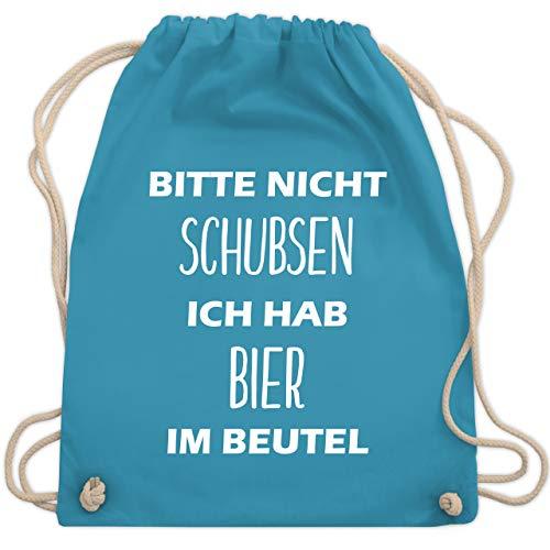 Festival Turnbeutel - Bitte nicht schubsen ich hab Bier im Beutel - Unisize - Hellblau - sporttasche kinder mädchen - WM110 - Turnbeutel und Stoffbeutel aus Baumwolle