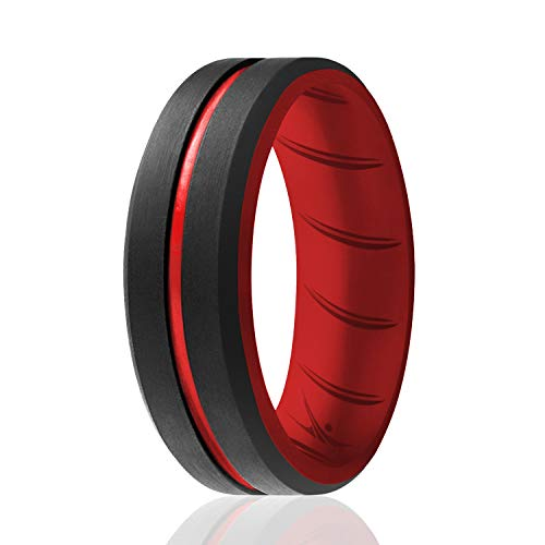 ROQ Silicone Rings, Breathable Silicone Rubber Wedding Ring Band for Men with Comfort-Fit Design, 8mm Engraved Duo, Single, Silicone Wedding Ring - Red, Black Colors - Size 9