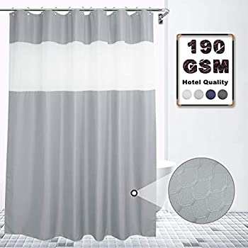 VCVCOO Extra Long 72x84Inch Waffle Fabric Shower Curtain with Sheer Voile Window Allow Privacy Light Grey Shower Curtain Let Light in for Bathroom Washable
