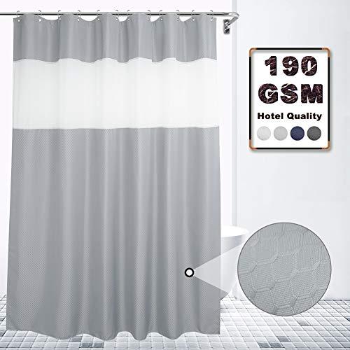VCVCOO Extralanger 183 x 213 cm Waffelstoff Duschvorhang mit durchscheinendem Voile Fenster für Privatsphäre, hellgrauer Duschvorhang lässt Licht hinein für Badezimmer, waschbar