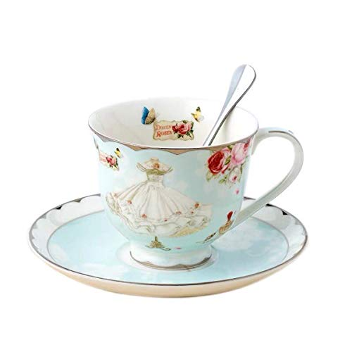YBK Tech Euro Style Cup& Saucer Set Bone China Ceramic Tea Coffee Cup for Home Kitchen Wedding- Rose and Dress (Style II)