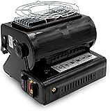 HTOUR Calentador de Gas portátil de Doble propósito 1.3KW con Calentador Giratorio y Compuesto de Encendido y liviano para Pesca de Campamento - Negro