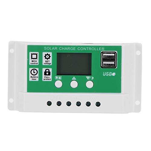 Eulbevoli Régulateur de Charge Solaire, contrôleur de Panneau Solaire de Stockage de mémoire de Mise Hors Tension avec écran LCD pour Batteries Gel AGM Ouvertes