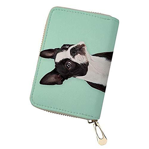Coloranimal - Cartera de Piel sintética con 20 Ranuras para Tarjetas de crédito Boston Terrier...
