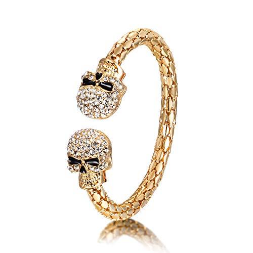 EVER FAITH Armband Halloween Party Schmuck Kristall Doppelschädel Skelett Verstellbares Armreif Klar Gold-Ton