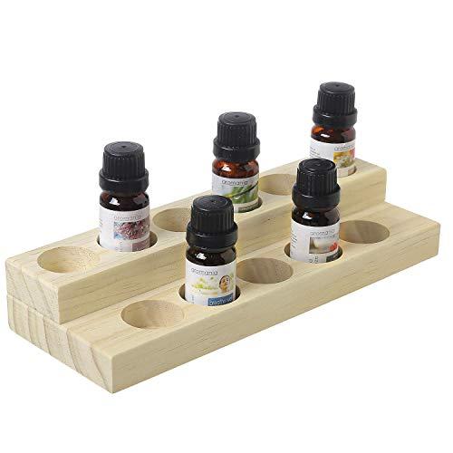 MyGift Vitrinenständer für ätherische Öle, 2-stöckig, natürliches Holz, für bis zu 11 Flaschen (20 ml)