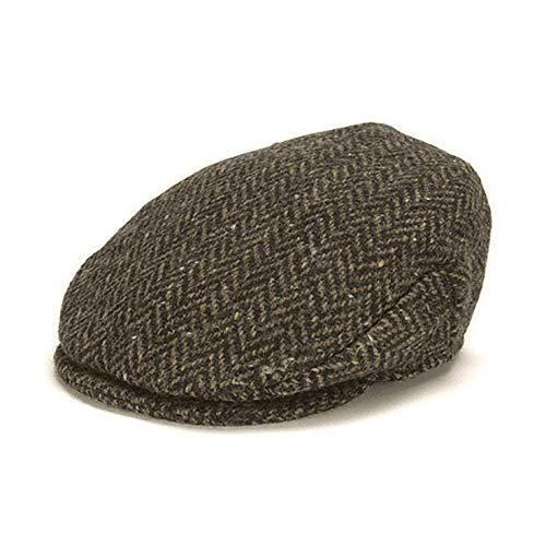 Hanna Hats of Donegal Flat Cap for Men's Tweed Vintage Driving Cap Made in Ireland Herringbone Hat (Wood, Medium)