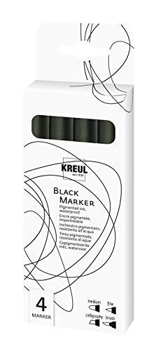 Kreul 18170 - Black Marker 4er Set mit verschiedenen Spitzen, wasserfeste, pigmentierte Tinte, ideal für Skizzen, Illustrationen und Handlettering