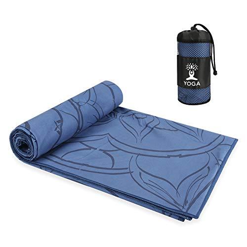 Maxjaa Toalla de Yoga Caliente Antideslizante, Toallas de Yoga Plegables Absorción de Agua y Secado rápido, Toallas de Yoga elásticas con impresión de Microfibra con Bolsa de Almacenamiento