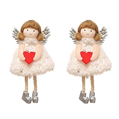 WSYW Colgante de ángel de Navidad para colgar adornos mini felpa, linda chica colgante con alas y corazón para llaves, mochila Satchel árbol de Navidad, decoraciones colgantes de 15 cm, color blanco