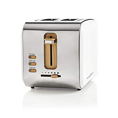 Nedis KABT510EWT Toaster | 2 breite Öffnungen | Soft-Touch | Weiß