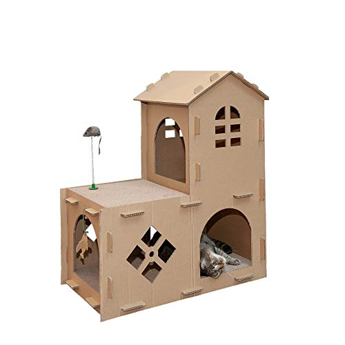 Furhaven Pet Furniture for Cats and Kittens - Tiger Tough Farmhouse Corrugated Cat Scratcher Playhouse Apartment with Catnip, Cardboard (Brown), One Size