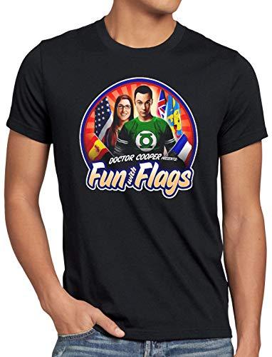 CottonCloud Fun wih Flags Camiseta para Hombre T-Shirt Sheldon Bandera Bandera Nacional pabellón Amy, Talla:3XL, Color:Negro