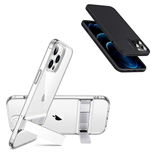 ESR Metal Kickstand Clear Case for iPhone 12/12 Pro + ESR Cloud Series Black Soft Case for iPhone 12/12 Pro