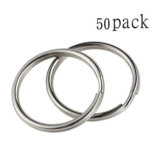 Reusious Schlüsselringe 28mm vernickelter Silberstahl, abgerundete Kanten, runder Schlüsselbandring, Schlüsselanhänger-Ring-Clips ( 50 Stück)