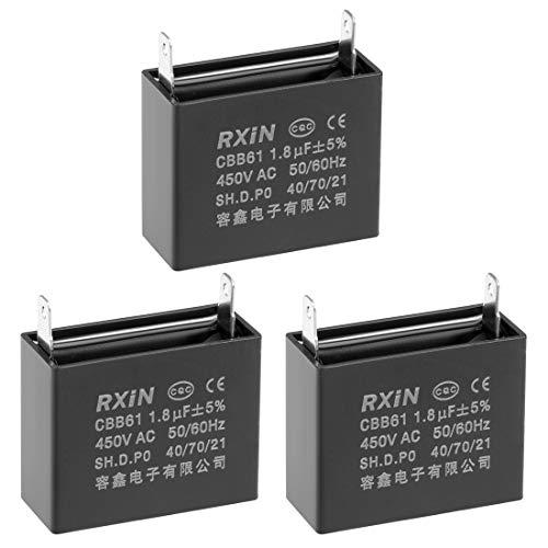 sourcing map Condensadores de película de polipropileno metalizado CBB61 450V AC 1. 8uF inserción sencilla 3 pzas