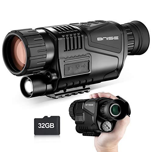 Visore Notturno Monoculare 8x40 a infrarossi con camera digitale HD con funzione di riproduzione video e uscita USB per la caccia e l'osservazione della natura fino a 150m nel buio. Scheda MicroSD 32G