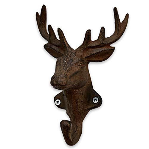 Loberon Haken 4er Set Deer, Gusseisen, H/B/T ca. 11/17,5/7 cm, antikbraun