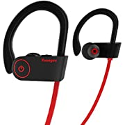 Bluetooth Headphones HolyHigh Yuanguo2 Best Wireless Sports Earphones with Micphone IPX7 Waterproof HD Stereo Sweatproof Earbuds for Gym Running Workout 8 Hour Battery Noise Cancelling Headsets (Red)