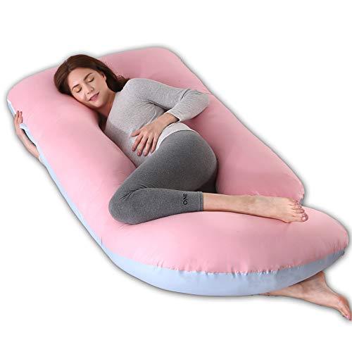 R&P Almohada Embarazada Maternidad Cojin Lactancia Forma de G Almohada de Cuerpo Entero Dormir, Fundas Algodon Desenfundable y Lavable Relleno de Poliester,E