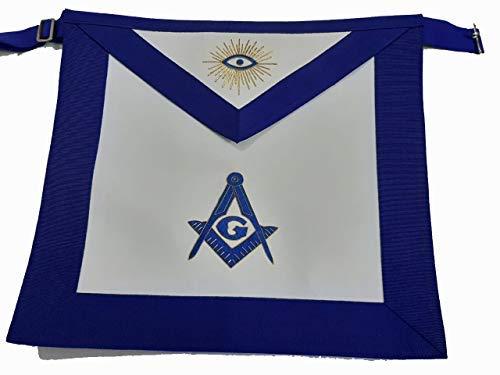 Masonic Regalia Blue Lodge PHA Master Mason Apron, Genuine Lamb Skin Leather Hand Bullion Embroidered