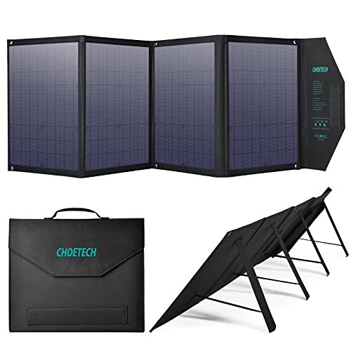 CHOETECH Portable Solar Panel, 80W Solar Charger with DC Output for Power Station Generator Camping RV, Monocrystalline Foldable Solar Panel Battery Charger for Phones Laptop Tablet Camera
