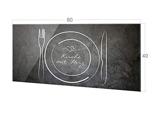GRAZDesign Spritzschutz Küche Glas Spruch Küche mit Herz, Wandpaneele Küche Besteck, Küchenrückwand Glas / 80x40cm