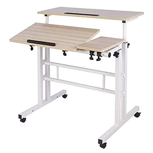 Mobile Laptop Standschreibtisch Computer Workstation, einstellbare Notebook-Tabelle Sit-Stand-Desktop-stehender Schreibtisch (Color : White Maple)