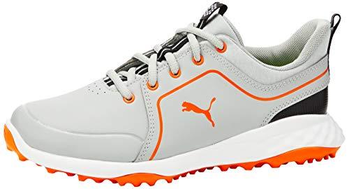 PUMA Herren Grip Fusion 2.0 JRS Golfschuhe, Grau (HIGH Rise-Vibrant ORANGE 02), 37 EU