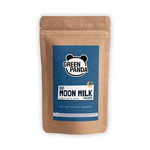 """BIO MOON MILK vegan, Goldene Milch mit Ashwagandha & Kurkuma Pulver, perfekt für Golden Milk & Kurkuma Latte, Gute-Nacht-Trunk mit der \""""Schlafbeere\"""", biologisch abbaubarer Beutel, 200g von Green Panda"""
