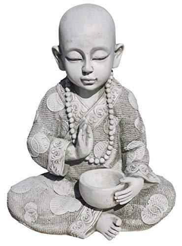 AnaParra Figura Buda Sabiduria para el jardín Decorativa 37cm. hormigón Natural Musgo
