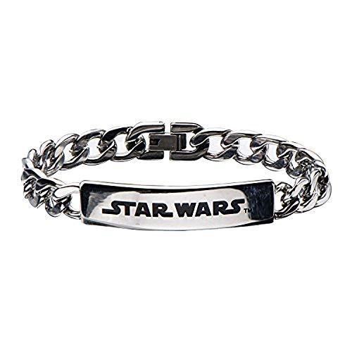 Stainless Steel Star Wars Logo ID Curb Chain Bracelet - 8'