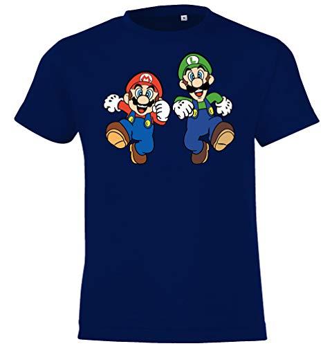 Kinder Jungen Mädchen T-Shirt Modell Mario & Luigi - Navyblau 118/128 (8 Jahre)