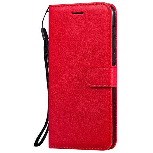 Hülle für Vivo V11/V11 Pro/V11i/Y97 Hülle Handyhülle [Standfunktion] [Kartenfach] Tasche Flip Hülle Cover Etui Schutzhülle lederhülle flip case für Vivo V11 Pro - DEKT051783 Rot