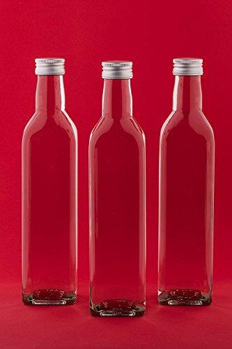 slkfactory 12Bottiglie di Vetro vuote 500ML Succo di Mar Bottiglie con Tappo a Vite, da riempire
