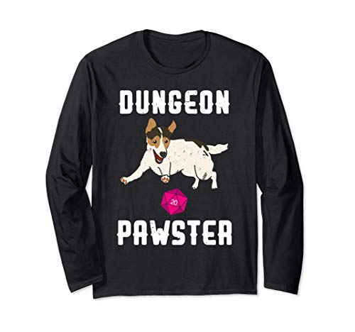 多面体D20サイコロとかわいいダンジョンポースター犬 長袖Tシャツ