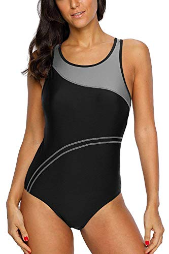 CharmLeaks Women's Athletic Bathing Suits Chlorine Resistant Workout Swimsuit M