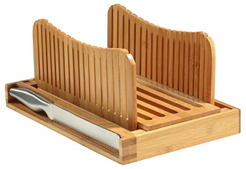 Bambusi Bread Slicer Cutting Guide with Knife - Bamboo Bread Cutter for Homemade Bread, Loaf Cakes,...