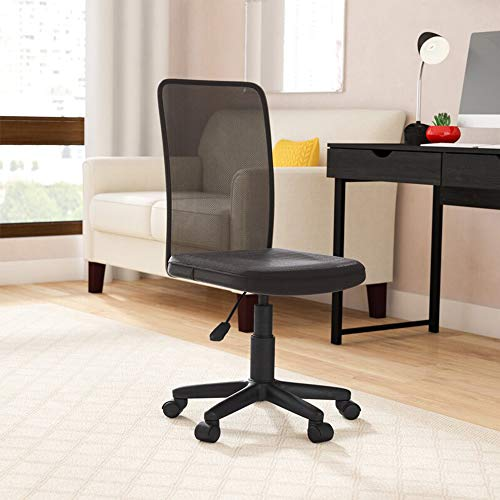 IDS Home MLM-18507 Office Desk Mid Back Ergonomic Comfort Mesh, Height Adjustable Modern Task Computer, Rolling Swivel Chair with Casters, Lumbar Support, Black