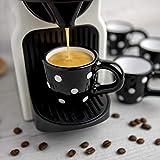 City to Cottage Cerámica en Negro y Blanco | Diseño de Lunares | Hecha y Pintada a Mano | Cerámica Esmaltada 2oz/60ml | Set de 4 Tazas de Café Espresso | Regalo