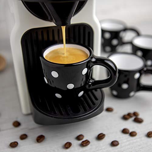 City to Cottage® Cerámica en Negro y Blanco | Diseño de Lunares | Hecha y Pintada a Mano | Cerámica Esmaltada 2oz/60ml | Set de 4 Tazas de Café Espresso | Regalo