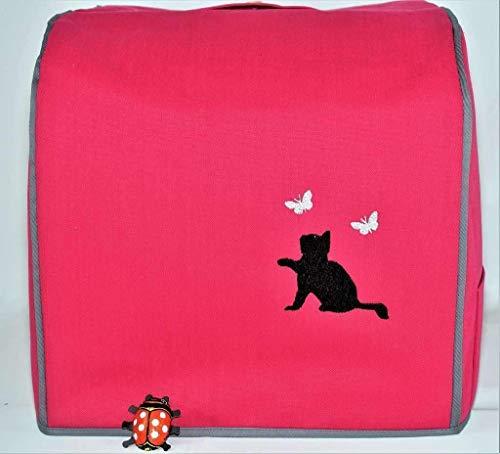 Abdeckhaube für Thermomix TM 6, TM 5, Chaton, Schmetterlinge, Himbeere mit schwarz, Schutzhülle, Baumwolle, Henkel, Utensil-Taschen